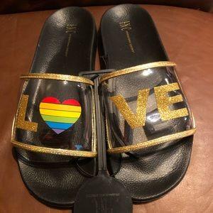 INC Clear Gold Glitter Rainbow Slides/Sandals